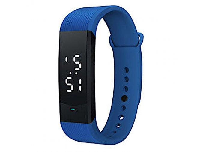 Sportovni hodinky bilym jasnym podsvicenim modra z boku