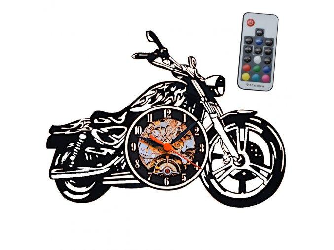 nastenne hodiny s led podsvicenim rgb motocykl motorka chopper hlavní