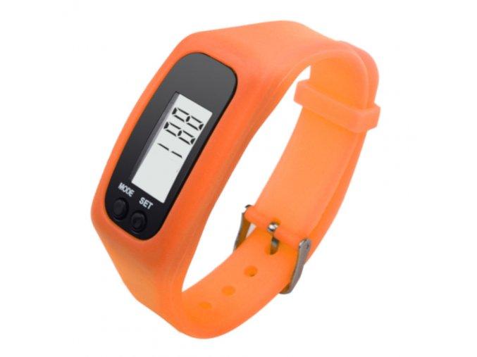 fitness naramek hodinky s krokomerem oranzove 1207