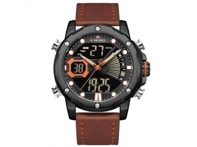 panske hodinky NAVIFORCE NF9172L zn111c s kozenym hnedym reminkem hlavni