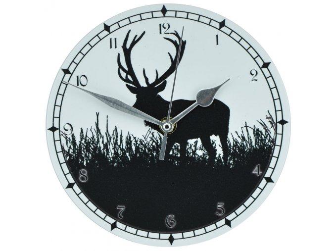 nastenne myslivecke hodiny s tichym chodem pro myslivce jelen s jelenem