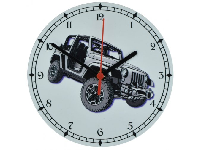 nastenne outdorove hodiny s tichym chodem tereni vuz jeep wrangler