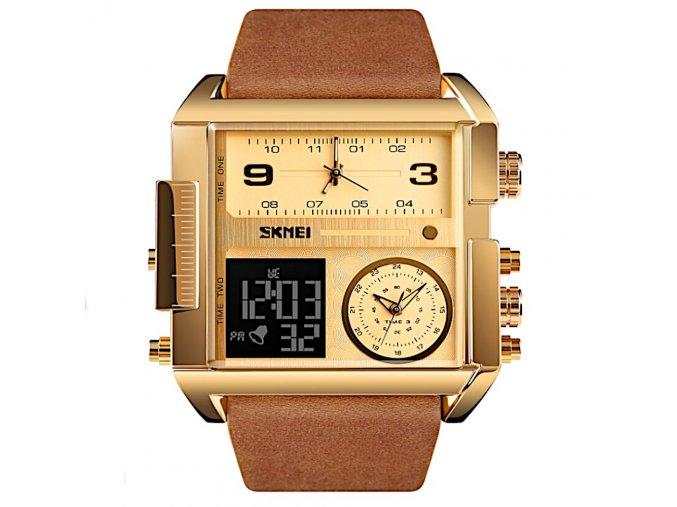 panske obrovske hodinky skmei s dualnim casem gold brown hlavni