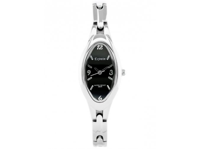naramkove analogove rucickove damske hodinky na baterii extreim stribrno cerne