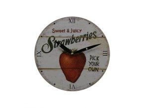 Kuchyňské nástěnné RETRO hodiny Strawberries  + 100% skladem + náramek zdarma