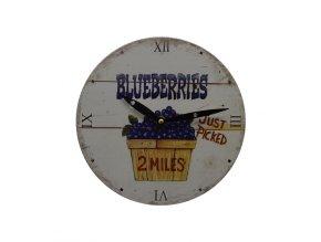 Kuchyňské nástěnné RETRO hodiny blueberries  + 100% skladem + náramek zdarma