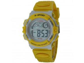 detske digitalni hodinky W F82 žluto bile zepředu