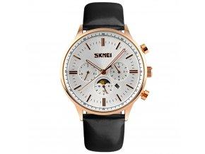 panske hodinky skmei 9117 zlate s cernym reminkem ve stylu philip patek