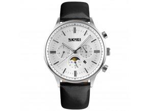 panske hodinky skmei 9117 stribrne s cernym reminkem ve stylu philip patek