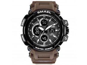 panske sportovni digitalni hodinky s dualnim casem smael 1708 coffe
