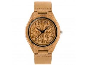 drevene hodinky zx038a s kozenym reminkem ze dreva bateriove