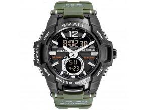 panske hodinky s dualnim casem smael 1805 khaki zelene