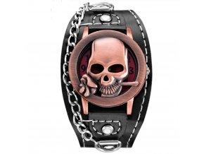 motorkarske hodinky punk lebka s kytkou ruzove