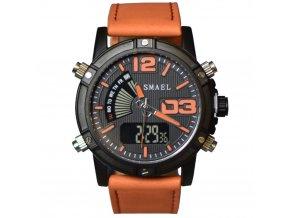 panske hodinky smael cerno oranzove