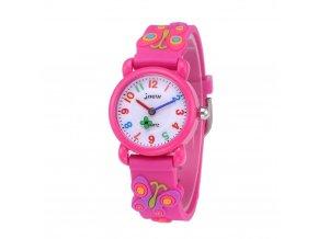 detske hodinky jnew s 3d reminkem barevne ruzovy motylek 2