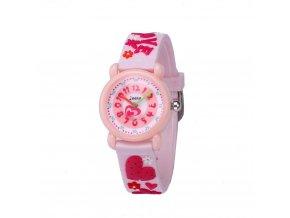 detske hodinky jnew s 3d reminkem barevne ruzove srdicka 86182 3
