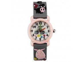 detske hodinky jnew s 3d reminkem barevne sede prasatko