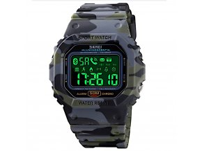 panske vodotesne chytre smart hodinky skmei 1629 khaki maskovane led podsviceni