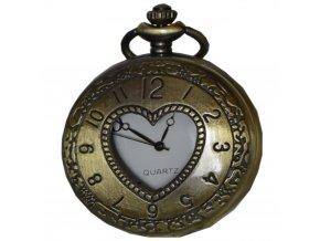 kapesni hodinky na retizku do kapsy mosazne srdce