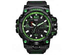 digitalni hodinky s dualnim casem smael 1545 zelene cerne