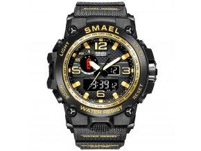 digitalni hodinky s dualnim casem smael 1545D zlate