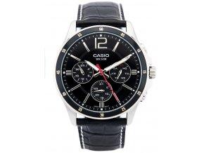 panske hodinky s kozenym reminkem CASIO MTP 1374L 1AV 1