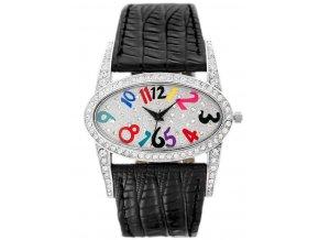damske naramkove hodinky s krystaly a kozenym reminkem gino rossi cerne (1)
