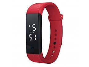 Sportovni hodinky bilym jasnym podsvicenim cervena z boku
