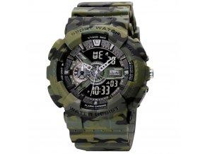 digitalni hodinky s dvojim casem gtup 1210 vodotesne 5 atm army khaki maskovane