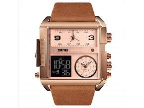 panske obrovske hodinky skmei s dualnim casem rose gold brown hlavni