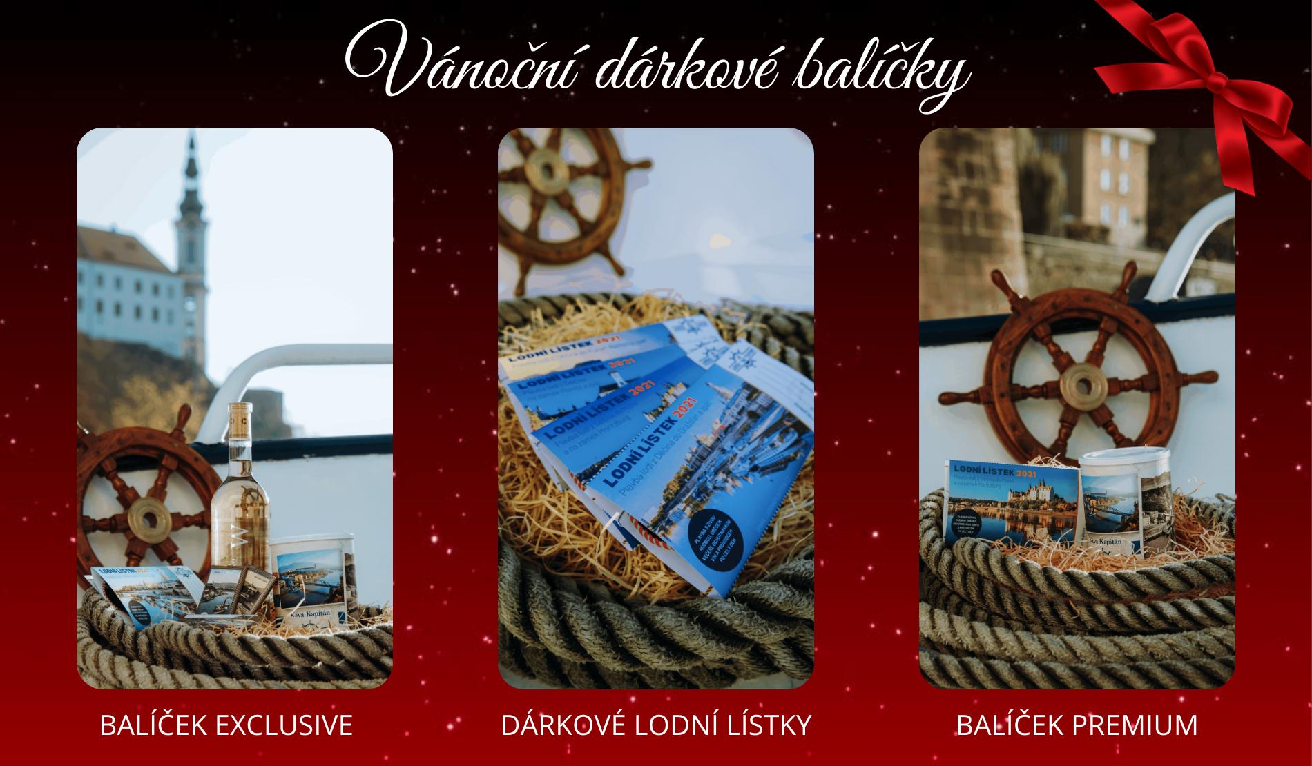 Vánoční dárkové balíčky Premium, Exclusive a dárkové lodní lístky