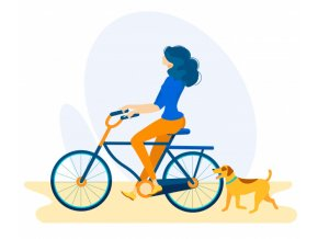 informational flyer cyclist with dog cartoon 82574 12662