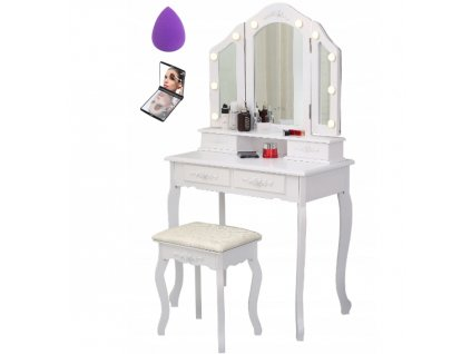Toaletní stolek TL-14 s LED osvětlením 3 zrcadla  + dárek