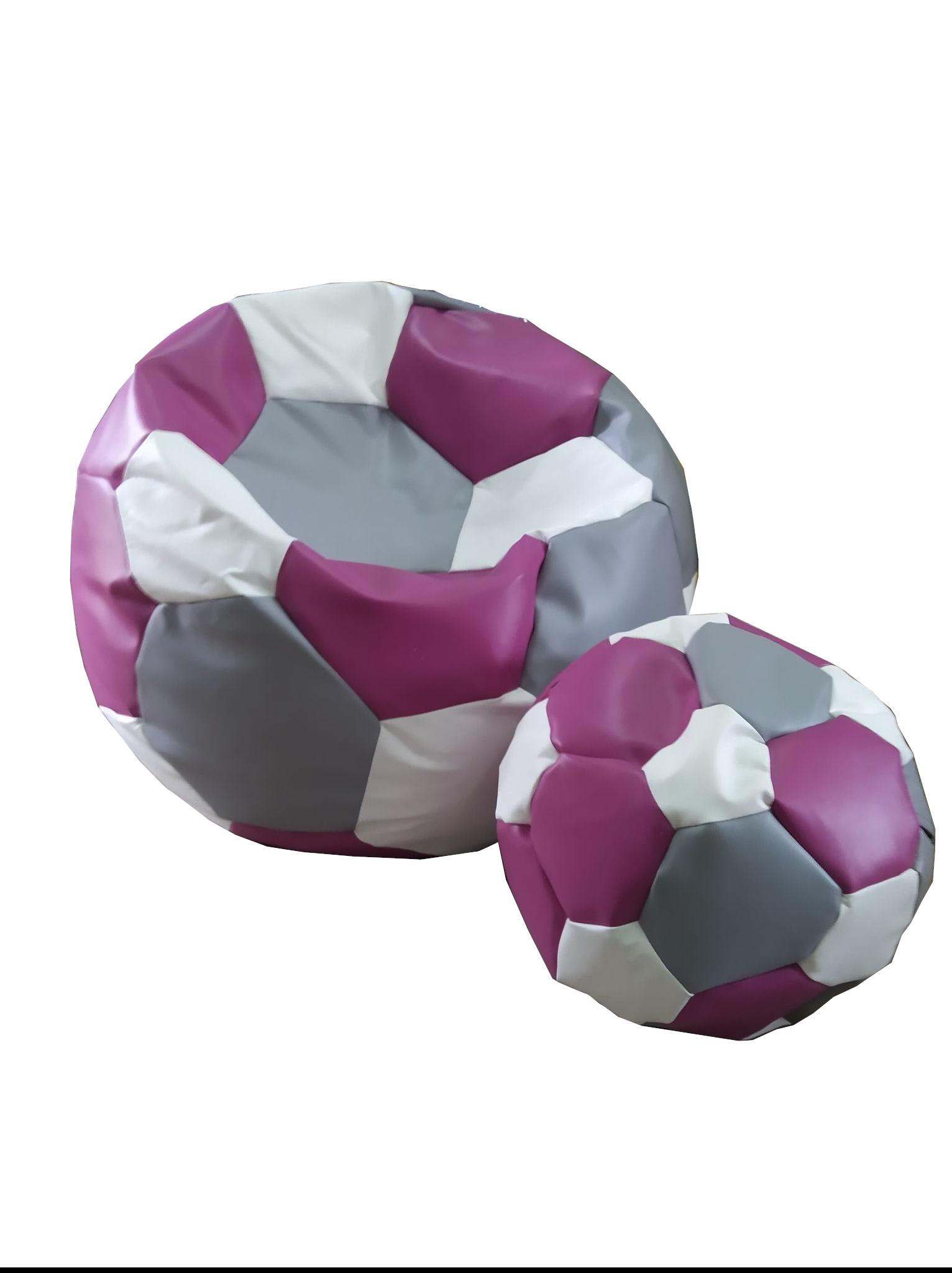 FITMANIA Tříbarevný sedací vak Fotbalový MÍČ XXL + podnožník Vzor: 36 ŠEDO RŮŽOVO BÍLÁ