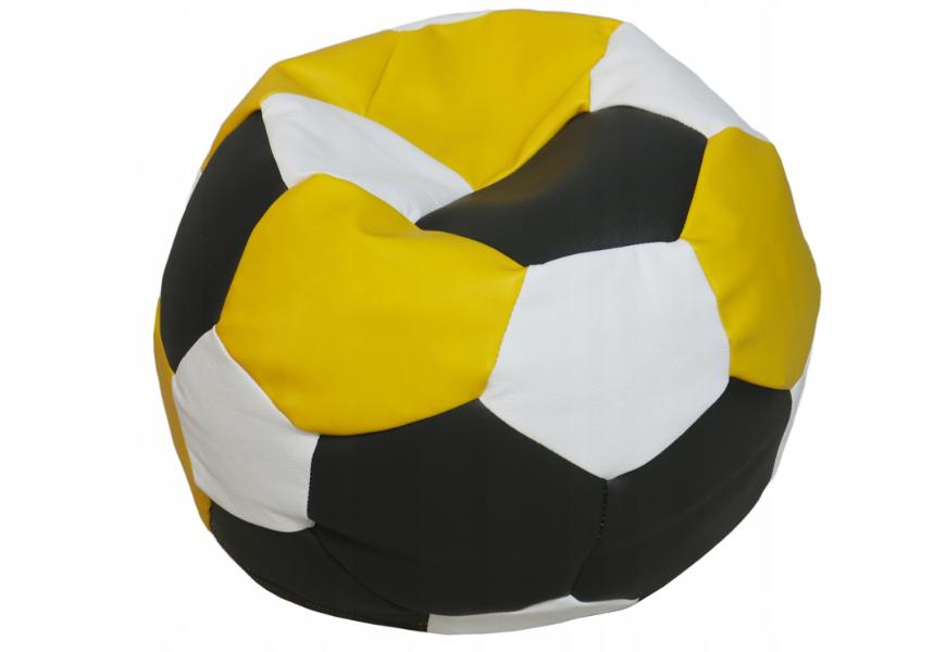 FITMANIA Tříbarevný sedací vak Fotbalový MÍČ XXL Vzor: 34 ČERNO ŽLUTO BÍLÁ