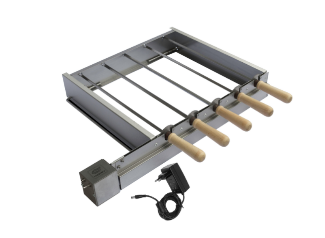 ALWI-GRILL Sada pro grilování špízů s elektrickým pohonem 5 špízů Vzor: Síťový adaptér 230 / 12V