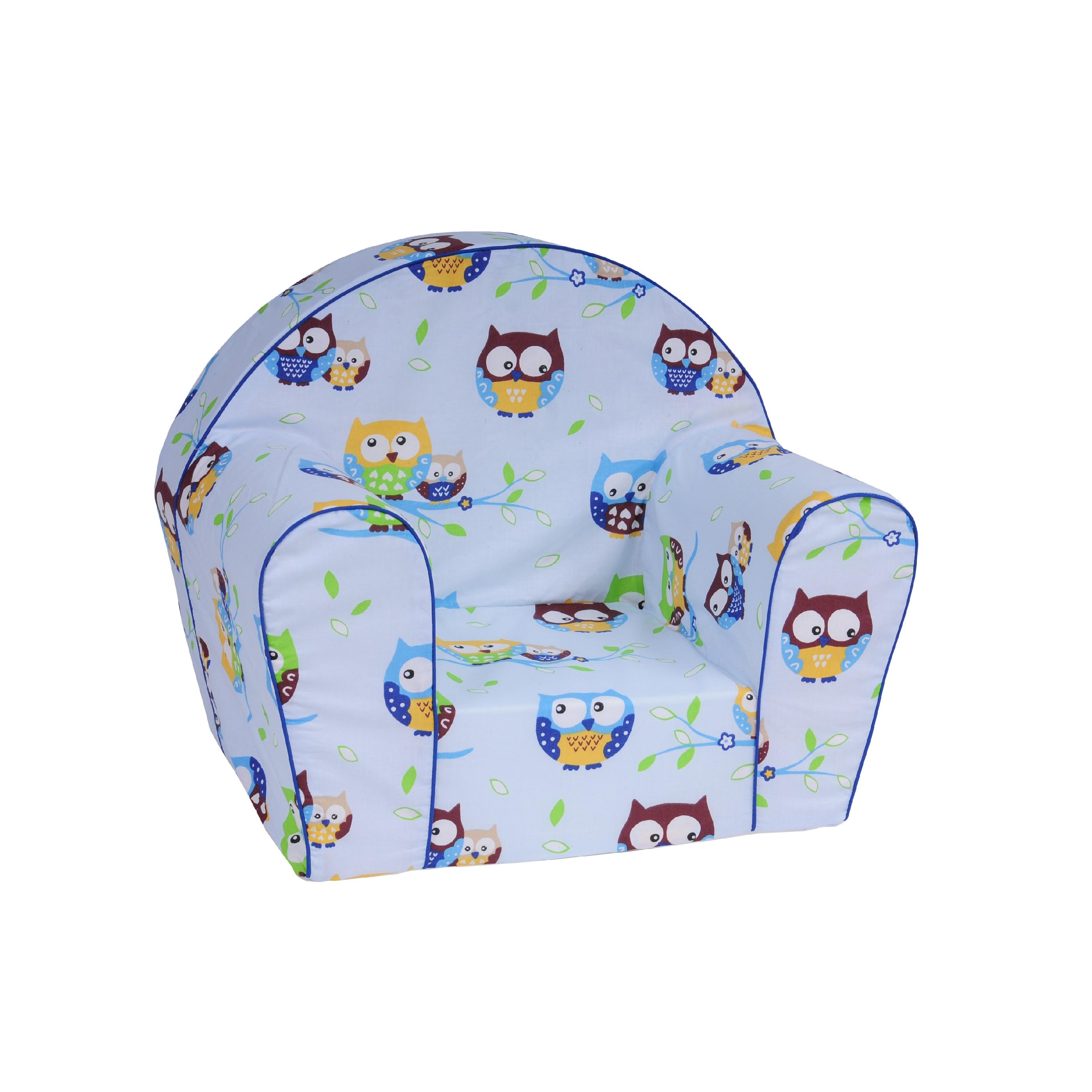 TEX-IM Dětské křesílko Baby Vzor  Modrá sova fef76df2335