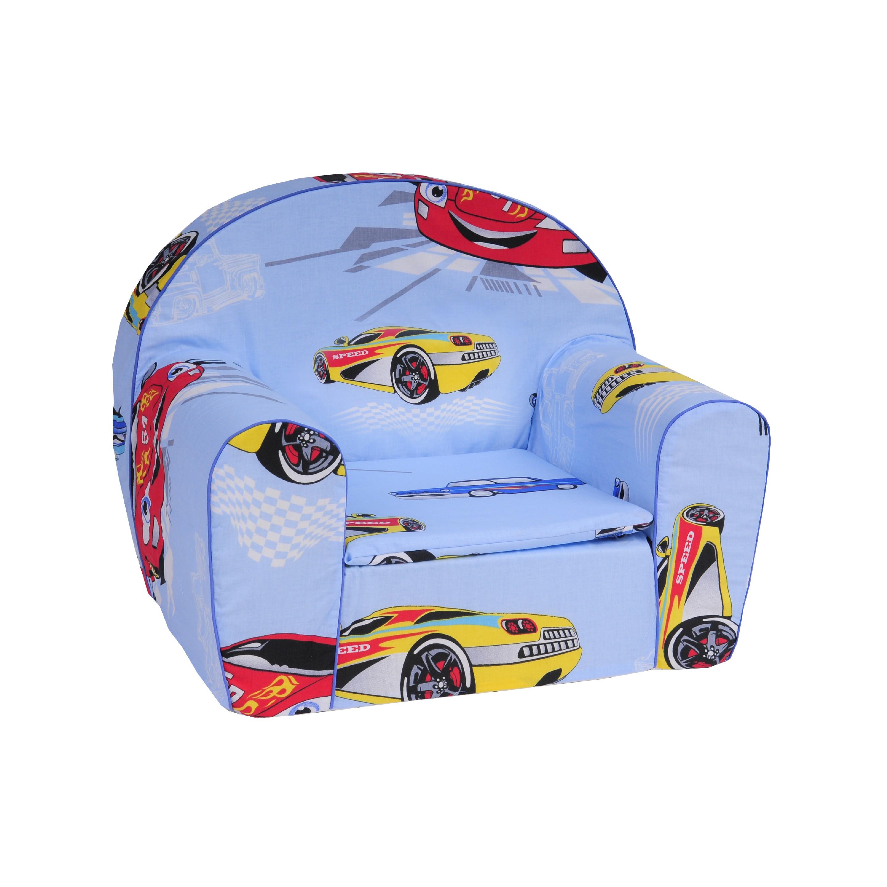 TEX-IM Dětské křesílko EXTRA Vzor: Auta modrá