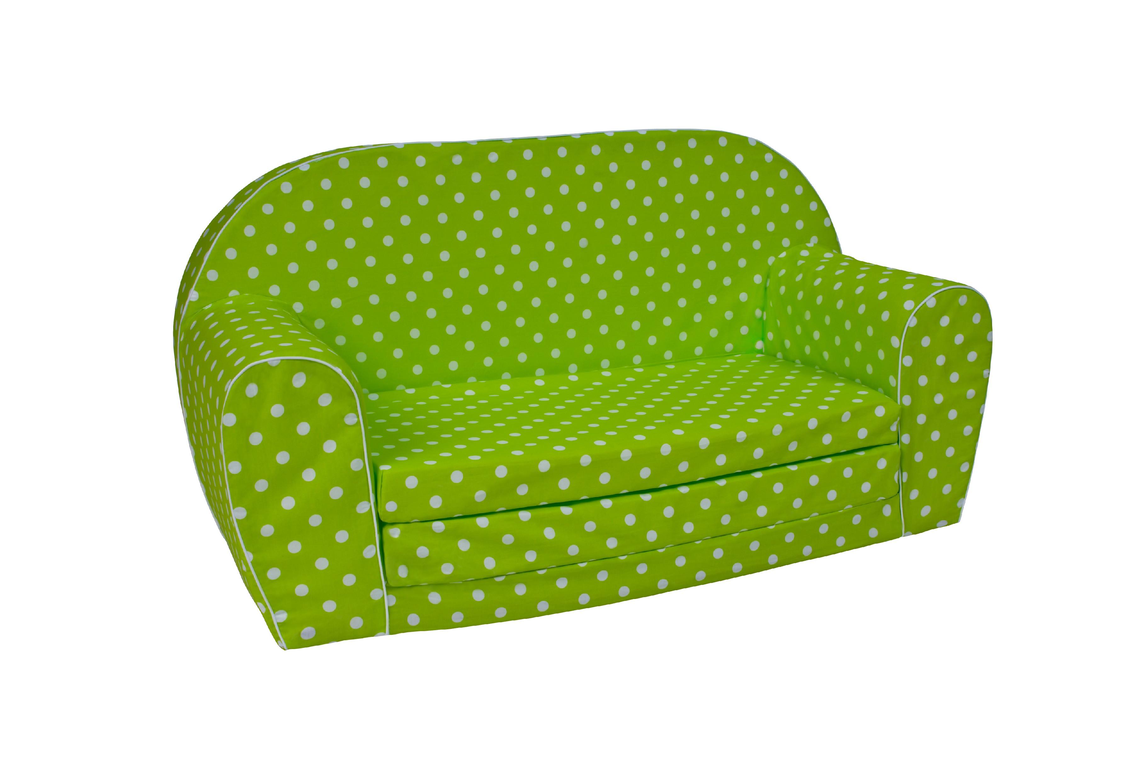 TEX-IM Rozkládací dětská pohovka MINI Vzor: Bílé tečky na zeleném