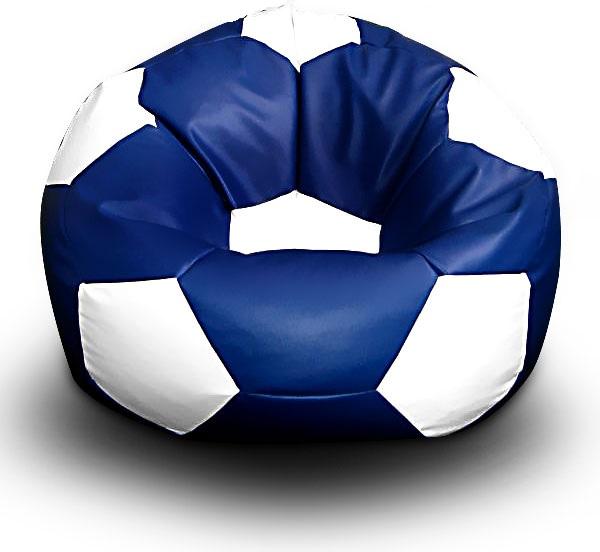 FITMANIA Sedací vak Fotbalový MÍČ XXL+ podnožník Vzor: 11 MODRO-BÍLÁ