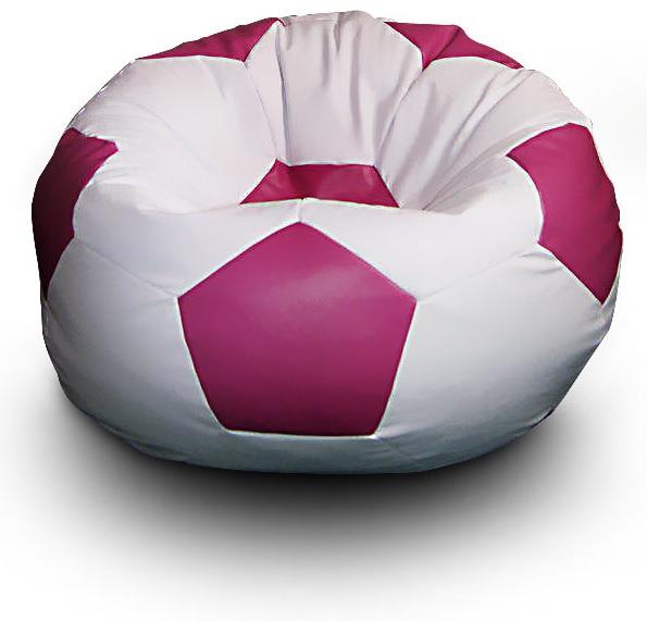 FITMANIA Sedací vak Fotbalový MÍČ XXL+ podnožník Vzor: 02 BÍLO-RŮŽOVÁ