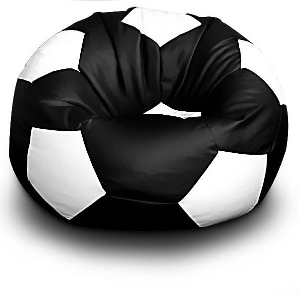 Sedací vak Fotbalový MÍČ XXL+ podnožník Vzor: 04 ČERNO-BÍLÁ