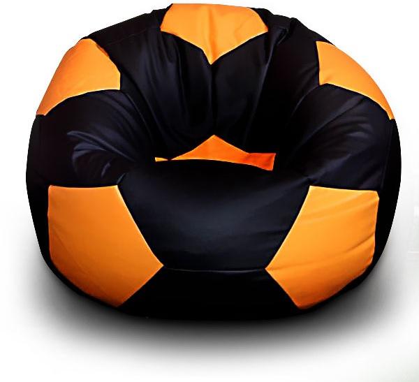 Sedací vak Fotbalový MÍČ XXL+ podnožník Vzor: 05 ČERNO-ORANŽOVÁ