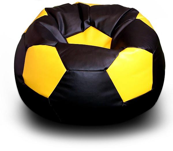 FITMANIA Sedací vak Fotbalový MÍČ XXL+ podnožník Vzor: 07 ČERNO-ŽLUTÁ