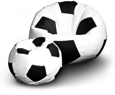 Sedací vak Fotbalový MÍČ XXL+ podnožník Vzor: 01 bílo-černá