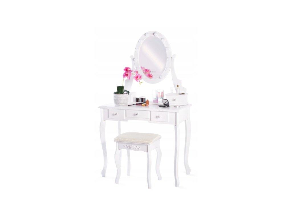 Toaletní stolek TL-09 s LED zrcadlem (Barva Taburet WHITE)