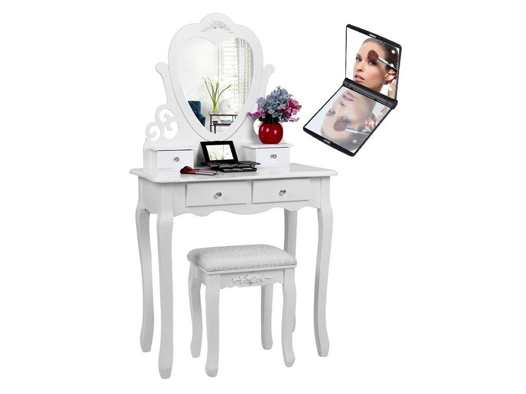 Toaletní stolek s taburetem 03 + zrcadlo s LED osvětlením zdarma  zrcadlo s LED osvětlením zdarma