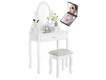 Toaletní stolek s taburetem 02 + zrcadlo s LED osvětlením zdarma  zrcadlo s LED osvětlením zdarma