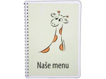 Tištěný jídelní lístek na plastovém médiu formát A5