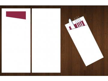 kapsa na příbory bílá/vínový ubrousek